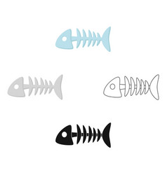 Fish bone icon in cartoonblack style isolated on vector