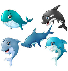 Fish cartoon set collection vector