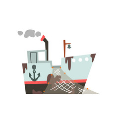 Fishing trawler with net for industrial seafood vector