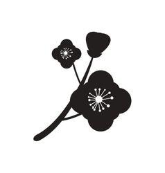 Flat icon in black and white flower vector image