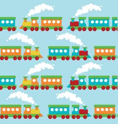 flat train seamless pattern vector image