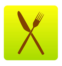 fork and knife sign brown icon at green vector image