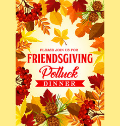 Friendsgiving potluck dinner invitation vector