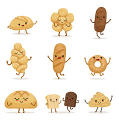 funny bakery food with different emotions vector image