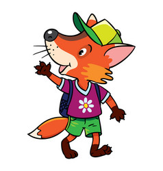 Funny fox with backpack vector
