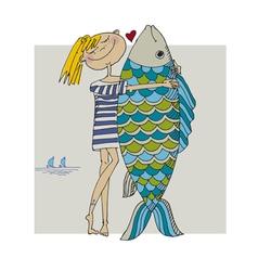Girl and big fish vector