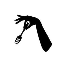 girl hand keep fork black silhouette firmly vector image