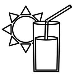 Glass juice fruit and straw with sun vector