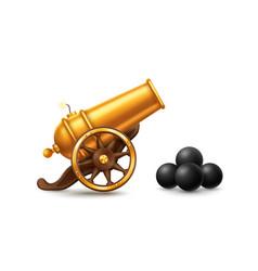 Golden cartoon cannon vector