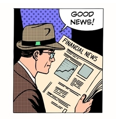 Good financial news businessman reading a vector image