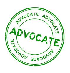 Grunge green advocate word round rubber seal vector