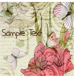 Grungy retro background with gladiolus flowers and vector