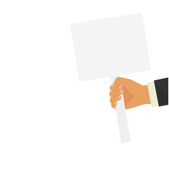 Hand holding blank banner mock up on wood stick vector