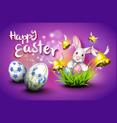 Happy easter eggs bells and rabbit vector