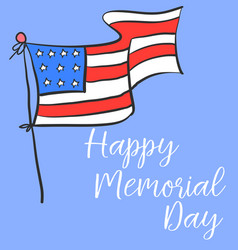 Happy memorial day with flag design vector