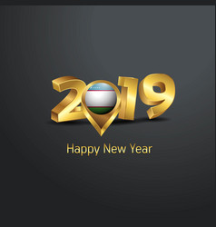 Happy new year 2019 golden typography with vector