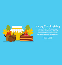 happy thanksgiving banner horizontal concept vector image