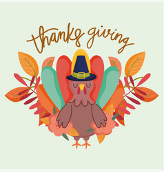 happy thanksgiving day cartoon turkey with hat vector image