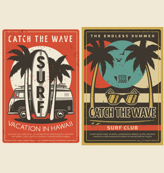 Hawaii vacation and surfing club retro posters vector