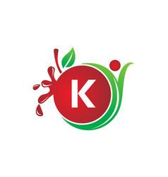 Health fruit juice initial k vector