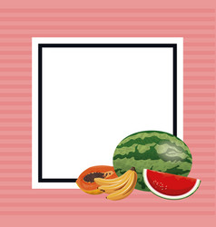 hello summer fresh fruit poster vector image