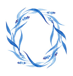indigo blue hand drawn wreath vector image