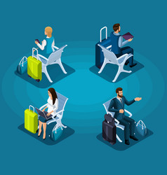 Isometric passengers sitting in waiting room vector