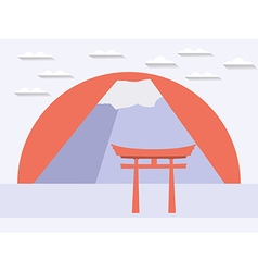 Japanese gate Japanese mountain Symbol of Japan vector image