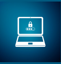 laptop with lock and password form page on screen vector image