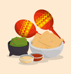 Maracas with mexican food to day of the dead event vector