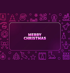 merry christmas colorful frame in outline vector image