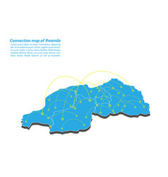 Modern of rwanda map connections network design vector