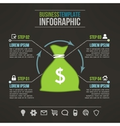 money bag dark infographic template with vector image