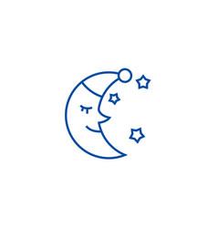 moon face sleep time line icon concept moon face vector image