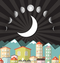 Moon phases sky above night city vector