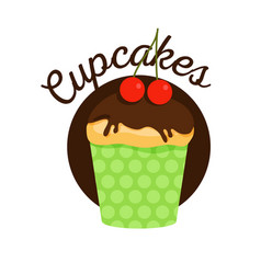 muffin with chocolate vector image