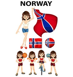 Norway girl doing different sports vector image