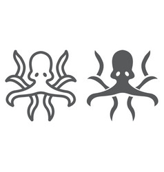 octopus line and glyph icon animal vector image