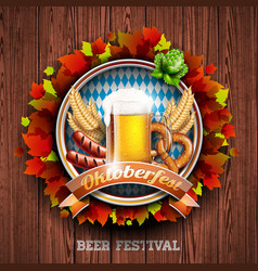 oktoberfest with fresh lager beer on wood texture vector image