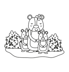 Outline female bear with its sons animals and vector