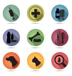 pets care icons set vet clinic symbol veterinary vector image