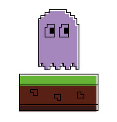 pixel ghost game play character arcade vector image