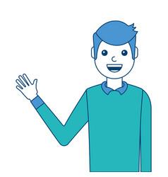 Portrait man waving hand smiling character vector