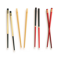 realistic 3d food chopsticks set different types vector image