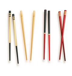 realistic 3d food chopsticks set different types vector image