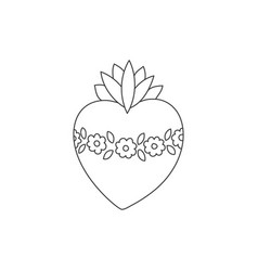 sacred heart doodle vector image