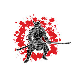 samurai warrior with sword weapon ready to fight vector image
