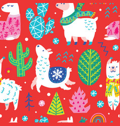 seamless winter pattern with cute llamas or vector image
