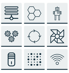 Set of 9 robotics icons includes recurring vector