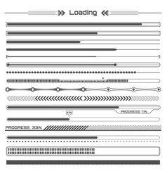 set of black hud loading lines infographic vector image